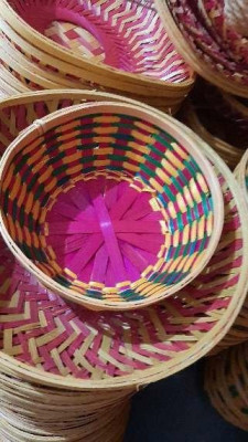 8 inch round bamboo basket(#1372)-gallery-0