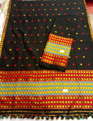 Assamese Staple Cotton Black Mekhela Chador P2(#1403)-gallery-0