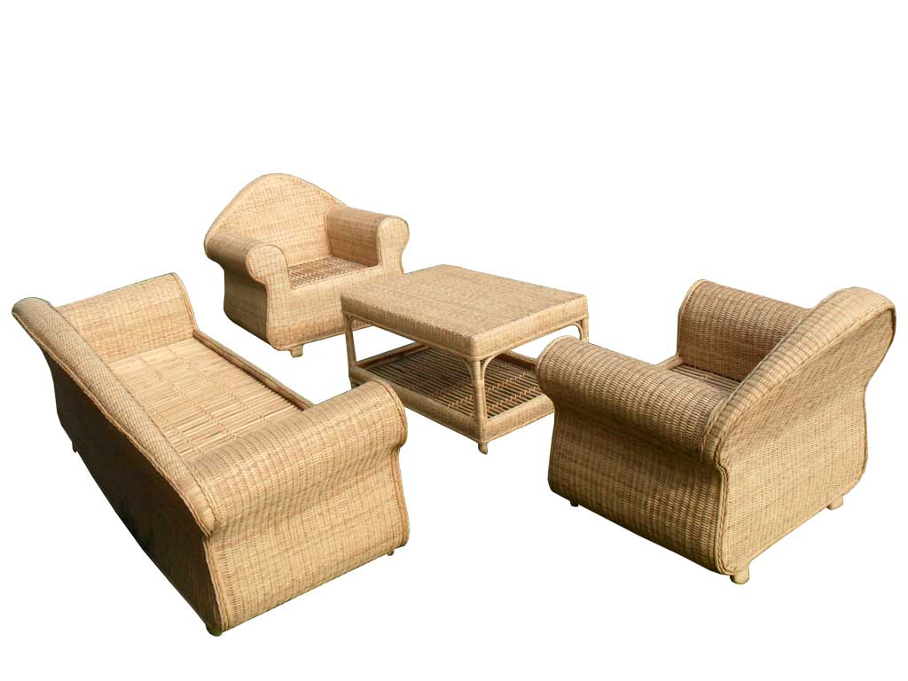 3-Seater Cane Sofa Set with Table(#141)-gallery-1