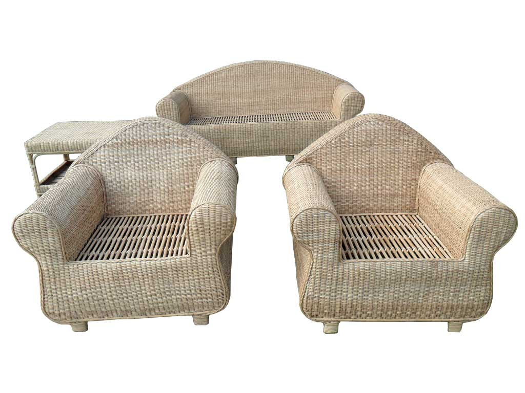 3-Seater Cane Sofa Set with Table(#141)-gallery-2