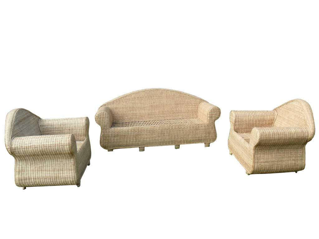 3-Seater Cane Sofa Set with Table(#141)-gallery-3