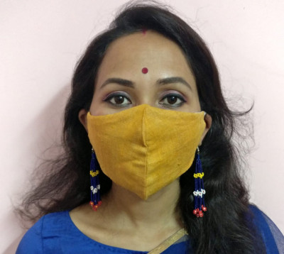 Eri Silk Organic naturally dyed Face Mask(#1435)-gallery-0