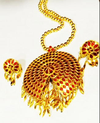 Golden Japi Jewellery Set studded with Red stones(#1544)-gallery-0