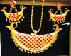 Red stones embellished Golden Jonbiri Jewellery Set for Women(#1575) - getkraft.com