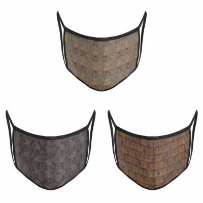 3 Layer Printed Protective Face Mask - Pack of 3 (Brown Combo)(#1611)-gallery-0