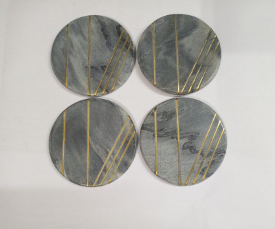 Unique Handicrafts Grey Marble Mix Brass Inlay Coaster Set of 4 pcs Round Shape Customize Marble Work by Vidhi Enterprisesl (Grey)(#1627)-gallery-0