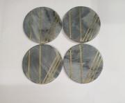 Unique Handicrafts Grey Marble Mix Brass Inlay Coaster Set of 4 pcs Round Shape Customize Marble Work by Vidhi Enterprisesl (Grey)(#1627) - getkraft.com
