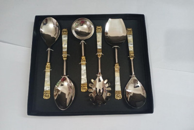 Unique Handicrafts Designer Stainless Steel Brass MOP (Mother of Pearl) 6 Piece Stainless Steel and Brass Serving Spoon Set (Silver and Ivory) S6 ((Silver and Ivory))(#1632)-gallery-0