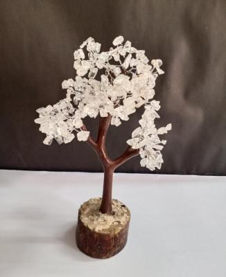 Unique Handicrafts Exclusive Blessing Natural Agate Gem Stone Bonsai Fortune Vastu Plant Sculpture Tree Good Luck Wealth Success Prosperity Home Office Table Decor Gift Item (White Quartz)(#1633)-gallery-0