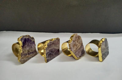 Unique Handicrafts Natural Agate Stone Gold Foiled Edges Napkin Rings Natural Shape Table Decor Housewarming Gift Set of 4-2 to 25 inch (Amethyst with Golden Ring)(#1637)-gallery-0