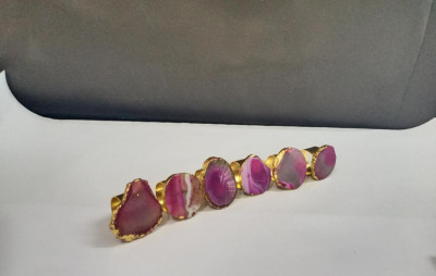 Unique Handicrafts Natural Agate Stone Gold Foiled Edges Napkin Rings Natural Shape Table Decor Housewarming Gift Set of 6-2 to 25 inch (Pink Agate with Golden Ring)(#1642)-gallery-0
