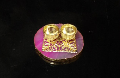 Unique Handicrafts Designer Agate Stone roli and chawal Platter Pooja Thali Kumkum Chawal Best Gifting Option Unique Look This Haldikumkumchawal Rakhi(#1669)-gallery-0