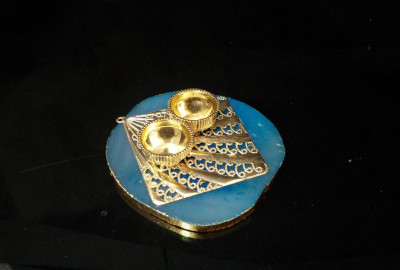 Unique Handicrafts Designer Agate Stone roli and chawal Platter Pooja Thali Kumkum Chawal Best Gifting Option Unique Look This Haldikumkumchawal Rakhi(#1670)-gallery-0