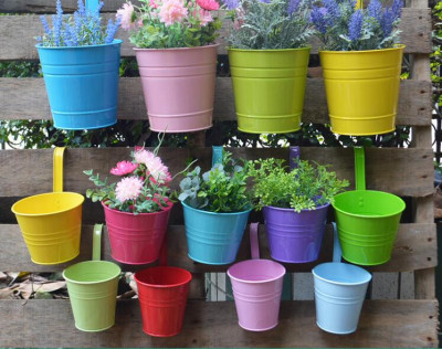 Hanging Colorful Bucket shaped Garden Planters(#1672)-gallery-0
