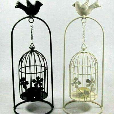 Creative Bird cage Candle Holder Stand- White Black(#1694)-gallery-0