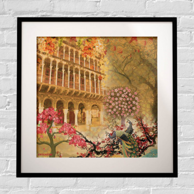 Historical Fort and Floral Themed Framed Art Print(#1717)-gallery-0