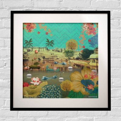 Beautiful Lakeside Framed Art Print(#1718)-gallery-0