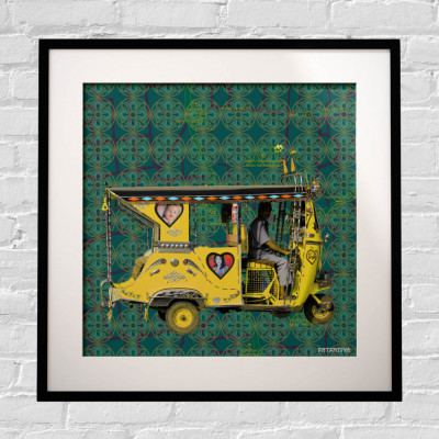 Yellow Auto Rickshaw Framed Art Print(#1725)-gallery-0