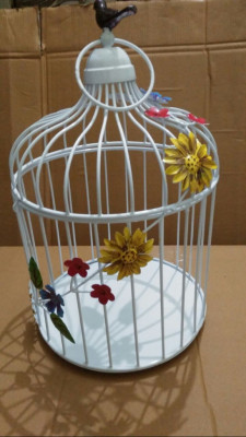 Colorful Floral Vine White Bird Cage(#1729)-gallery-0
