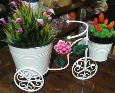 Cycle Style Stand with 2 Metal Pots Planter Stand Stand for Planters Pot Stand for plants in Balcony(#1739)-gallery-0