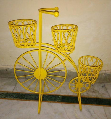 Yellow Cycle Style Planter Stand with 3 shelves(#1742)-gallery-0