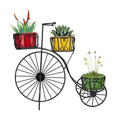 Black Metal Cycle Planter Stand with 3 Shelves(#1745)-gallery-0