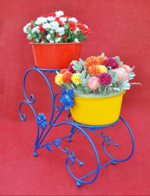 Blue Floral Intricate Elegant Planter Stand 2 Shelves(#1751)-gallery-0