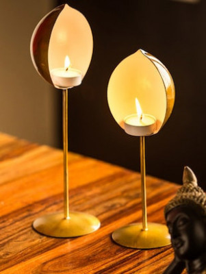 Half Oval shaped Set of 2 Votive Stand Candle Holder(#1758)-gallery-0