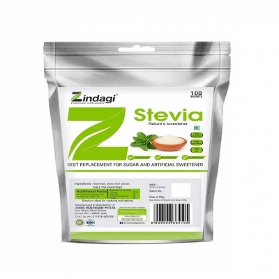 Zindagi Stevia Sachets - Pure Stevia White Powder - Natural Fat Burner - Sugar Free Sweetener100 Sachets(Pack of 1)(#1786)-gallery-0