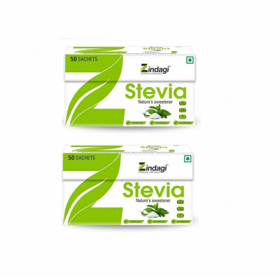 Zindagi Stevia Sachets - Pure Stevia White Powder - Natural Fat Burner - Sugar Free Sweetener 50sachets (Pack of 2)(#1787)-gallery-0