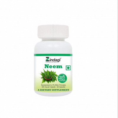 Zindagi 100 Pure Neem Extract Capsules - Dietary Supplement - Anti Bacterial Properties - 60cap(#1806)-gallery-0