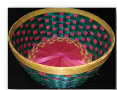 Bamboo round Tray multi color Set of 100(#1894)-gallery-0
