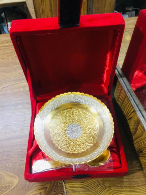 Silver Gold Plated Bowl and Spoon Set (Minimum Order 100 Sets)(#1896)-gallery-0