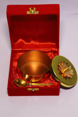 Brass Gift Bowl with Lid (Minimum Order Quantity)(#1897)-gallery-0