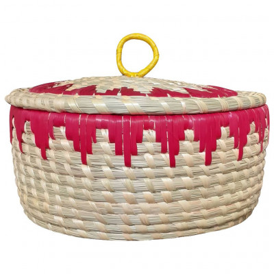 Avnii Organics Beautiful Hand Woven Round Shaped MoonjSea Grass Basket with Lid Eco-Friendly Can Be Used for Chapatti MultipurposeVery Useful(#1900)-gallery-0