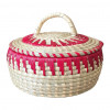 Avnii Organics Beautiful Hand Woven Round Shaped MoonjSea Grass Basket with Lid Eco-Friendly Can Be Used for Chapatti MultipurposeVery Useful(#1901) - getkraft.com