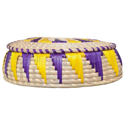 Avnii Organics Beautiful Hand Woven Round Shaped MoonjSea Grass Basket With Lid Eco-Friendly Can Be Used For Jewelry MultipurposeVery Useful(#1903)-gallery-0