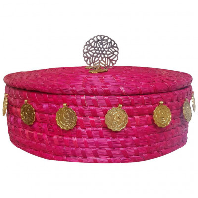 Avnii Organics Eco Friendly Hand Woven Round Shaped Basket Moonj GrassSea Grass Storage Basket With Airtight Lid Basket Is Decorated with Attractive Golden Buttons(Color- Dark Pink)(#1904)-gallery-0