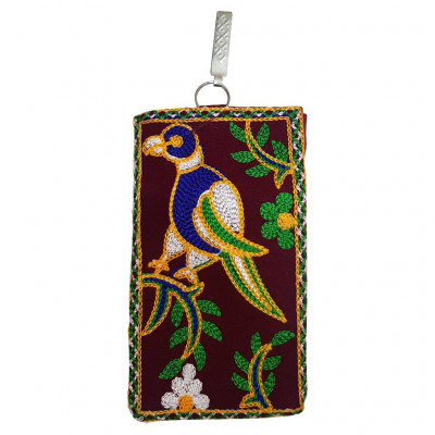 Avnii Organics Multi color Mobile Pouch (Mobile Cover) Rajasthani Style beautiful hand crafted Velvet cover for Women(#1922)-gallery-0