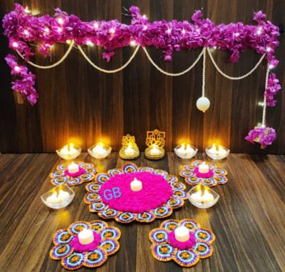 Diwali Toran candle with artificial flower(#1934)-gallery-0