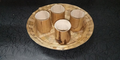 HAND MADE ECO FRIENDLY SERVING TRAY AND CUP SET(#1951)-gallery-0