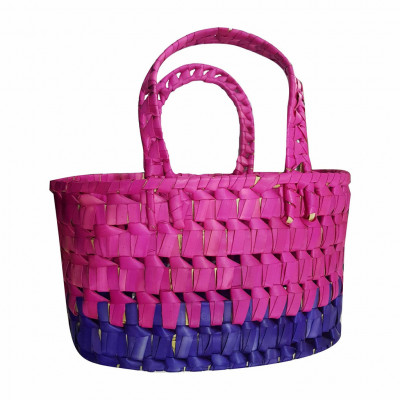 Avnii Organics 100 Handmade Natural Beautiful Palm Leaf Oval Basket with Handle(#1955)-gallery-0