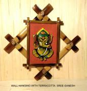 Wall Hanging with Terracotta Shree Ganesh(#1964) - getkraft.com