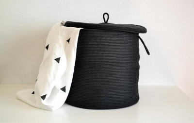 Cotton Basket with Lid(#1966)-gallery-0