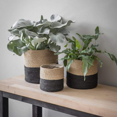 Natural Jute and Black cotton dori basketplanter(#1971)-gallery-0