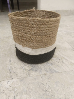 Natural jute black and white cotton dori planter(#1975)-gallery-0
