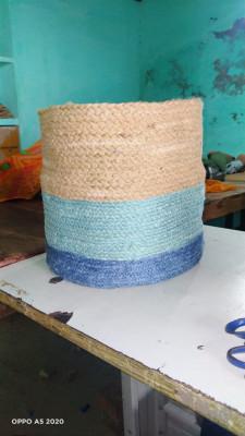 Natural jute blue cotton dori basket(#1977)-gallery-0