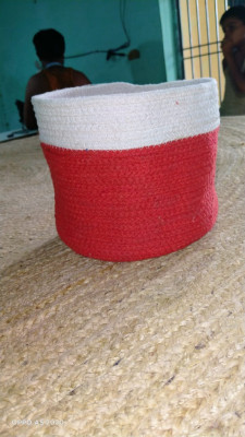 Natural jute and red cotton dori basket(#1978)-gallery-0