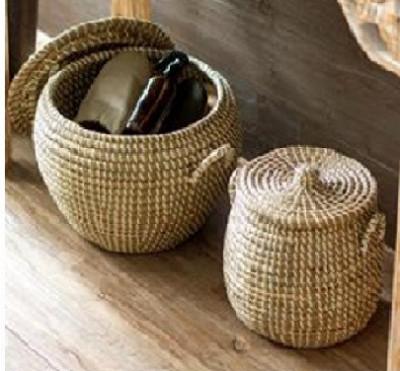 Sabai Grass Planter fine finished basket Set(#2073)-gallery-0