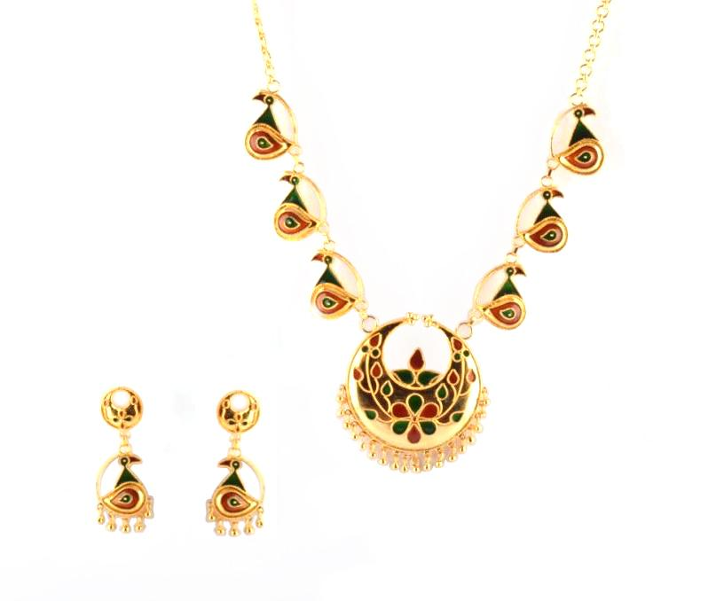 'Kachi Joon Mayur Haar' Assamese Jewellery Set for Women(#208)-gallery-0